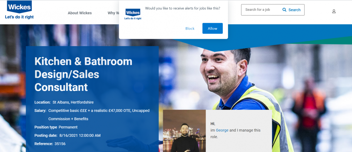 Push notifications on career site Wickes